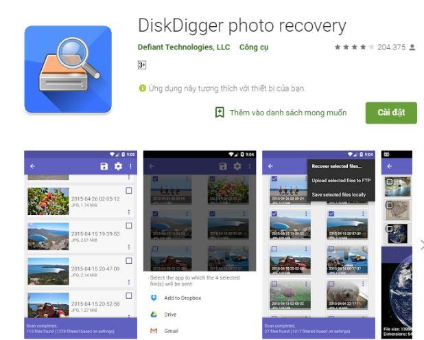 Tải phần mềm DiskDigger dành cho điện thoại Android
