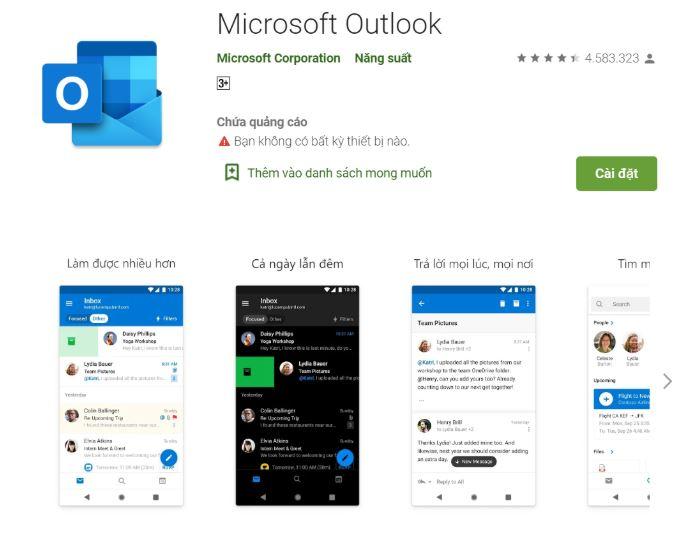 Tải ứng dụng Outlook cho điện thoại Android