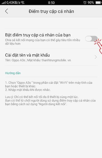 Cách phát Wifi trên OPPO A3S (3)