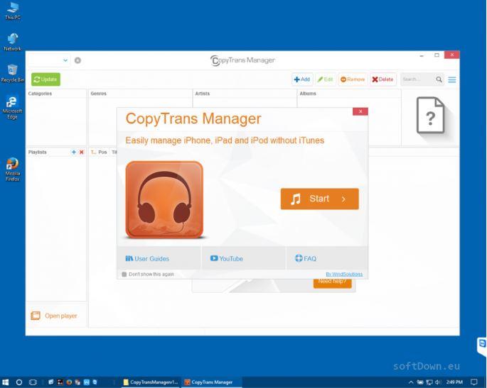 Phần mềm quản lý thư viện âm nhạc CopyTrans Manager