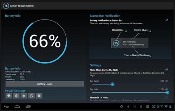 Ứng dụng Battery Widget Reborn cung cấp đa dạng tính năng tiết kiệm pin