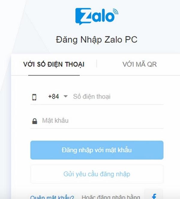 Đăng nhập Zalo bằng số điện thoại và mật khẩu